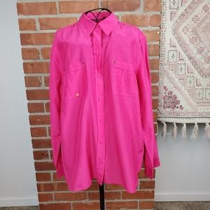 Chico's Pink Long Sleeve Shirt - Size 2 (large)